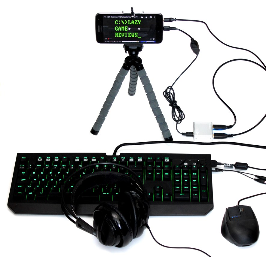 All set up: Mouse and keyboard connected using a USB hub, plus a headset connected using the keyboard passthrough audio cable.