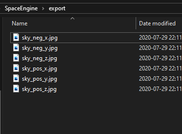 The files will be written to the Export folder in the SpaceEngine folder. Note that the files will be overwritten if you export again.
