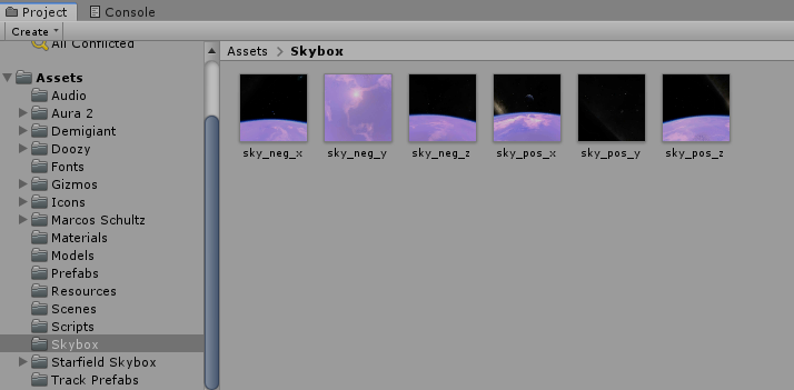 In the Project tree, create a new folder called Skybox and add the images.