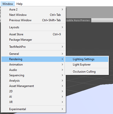 Open the lighting settings window.