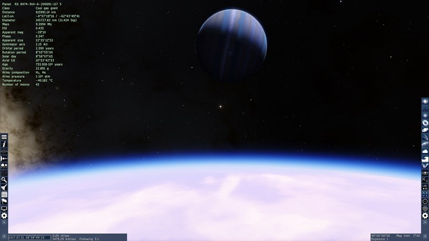 A view of the planet RS 8474-914-6-200694-117 5 from one of its moons. Looks pretty neat, so we will use it in our game.