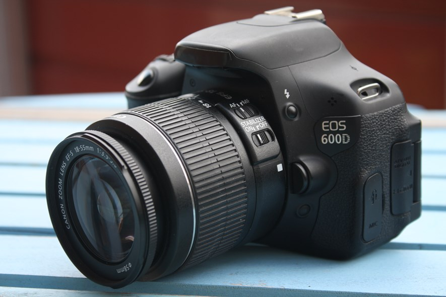 The Canon 600D - stealth mode with taped over logo and strap removed.