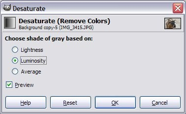 Use the desaturate tool to create a grayscale image.