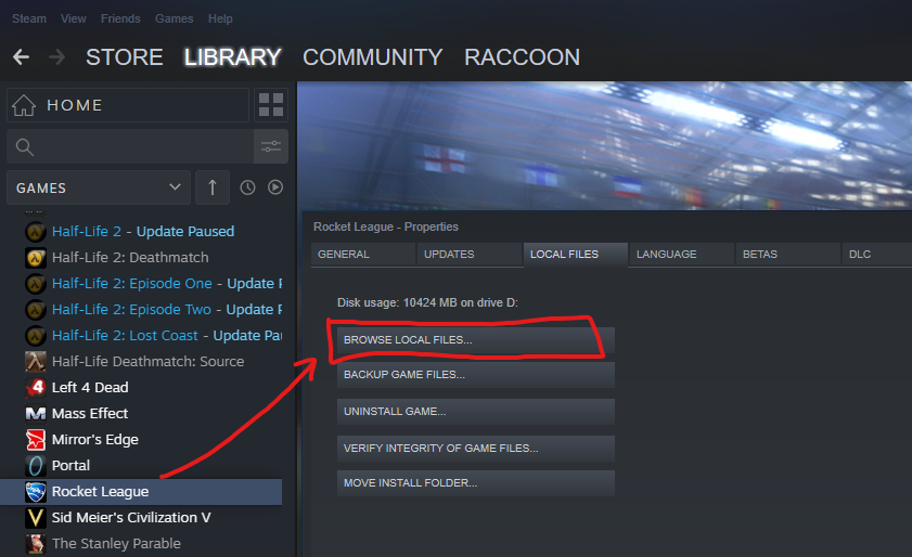 To locate the Rocket League folder using the Steam client, right-click the game in the games list, select properties, and click