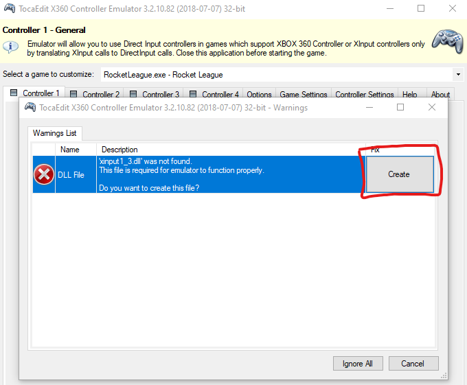 When the application first starts, it needs to create xinput1_3.dll in order to work. Click create to proceed.