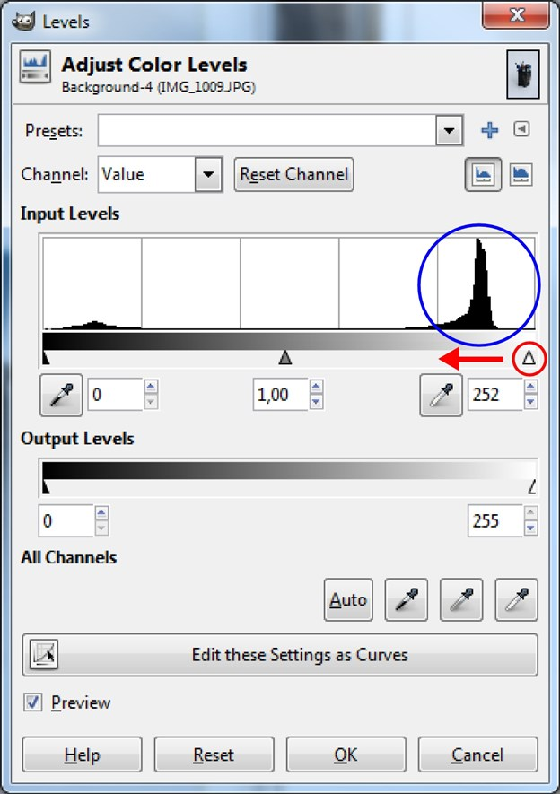 The spike (blue ring) in the histogram indicates the gray background, which we want white. Drag the right slider (red ring) left of the spike and the background magically turns white. Try the left slider for deeper blacks.