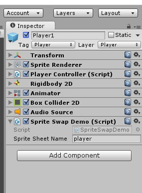 The script 'Sprite Swap Demo' was created and added to the game object. The parameter 'Sprite Sheet Name' is set to 'player', which is the name of the PNG file of the player. We can start the game and change it to another value on the fly.