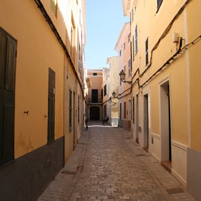 Typical street in the small city if Ciutadella.