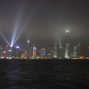 The light show in Hong Kong.