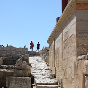 "We went to the ancient city of Knossos - or what was left of it. Strangely, today it consist mostly of more or less accurately ""reconstituted"" buildings."